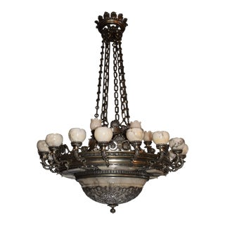 Antique silver over bronze and alabaster chandelier For Sale