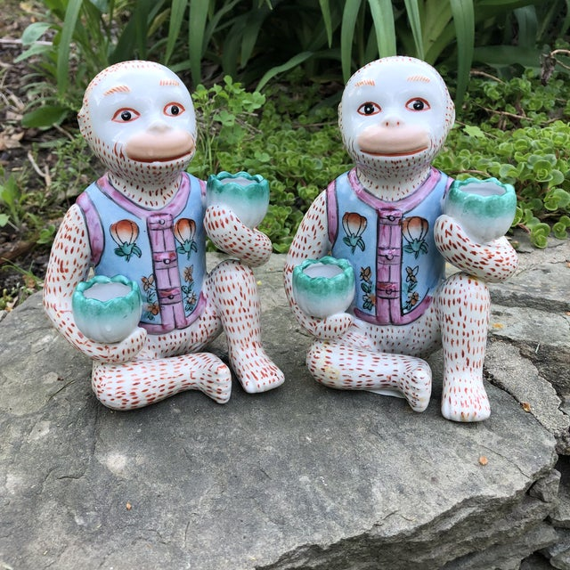 1980s Chinoiserie Monkey Candle Holder Figurines - a Pair For Sale - Image 9 of 9