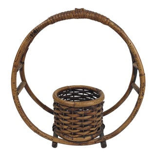 1970s Boho Chic Rattan Hanging Circle Planter