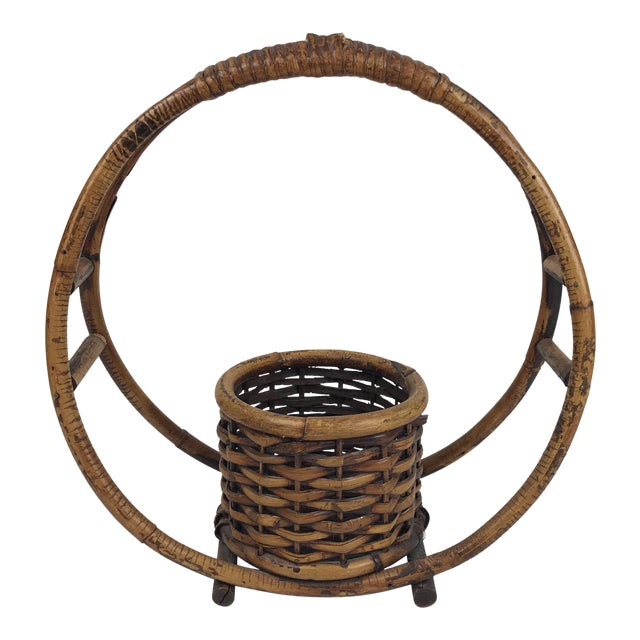 1970s Boho Chic Rattan Hanging Circle Planter For Sale