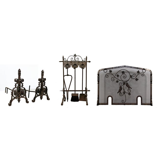 1940s Vintage French Art Deco Wrought Iron Fireplace Tool Set - 4 Pieces For Sale - Image 9 of 10