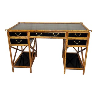 20th Century Boho Chic Faux Bamboo Writing Desk For Sale