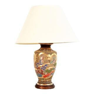 Antique Meiji Era Japanese Satsuma Porcelain Table Lamp For Sale