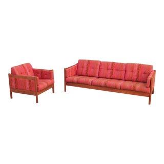 Jack Lenor Larsen Teak Sofa and Lounge Chair for Dux For Sale