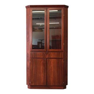 Skovby Danish Modern Rosewood Corner Cabinet For Sale