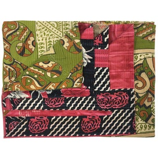 Pink and Green Vintage Kantha Quilt For Sale