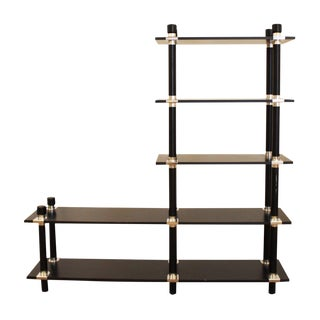 Mid-Century Modern Black Chrome Etagere Wall Shelving Unit For Sale