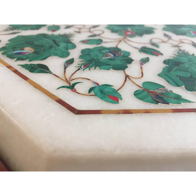White Pietra Dura Marble-Topped Octagonal Table Inlaid in Taj Mahal Anglo Raj Style For Sale - Image 8 of 13