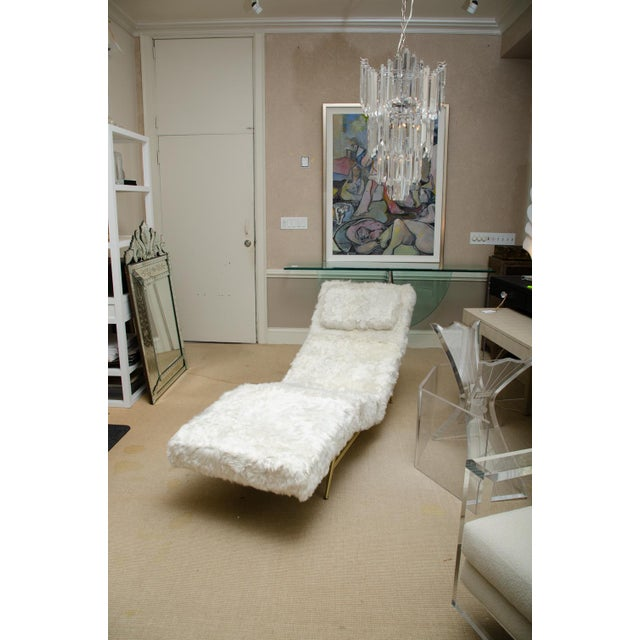 Milo Baughman for Thayer Coggin Brass Frame Chaise Covered in White Rabbit by Milo Baughman For Sale - Image 4 of 4