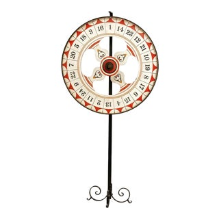 Folk Art Standing Carnival Game Wheel from Santa Monica Pier For Sale