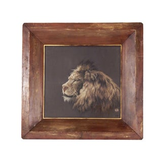 Noble Lion Framed Embroidery