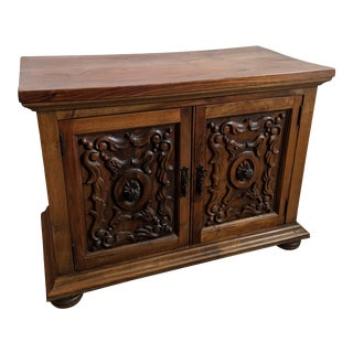 1980s Gothic Carved Wood Nightstand For Sale