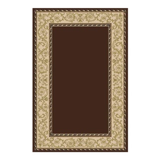 "Solid Brown Rug With Border - 6'8"" x 9'8"""