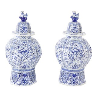 Late 19th Century Delft Jars Ginger Jars - a Pair For Sale