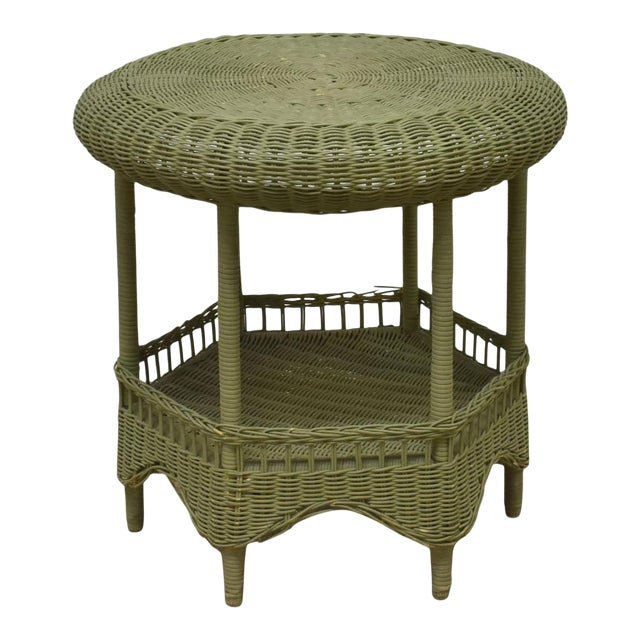 Vintage Light Green Painted Wicker Round Side Table For Sale