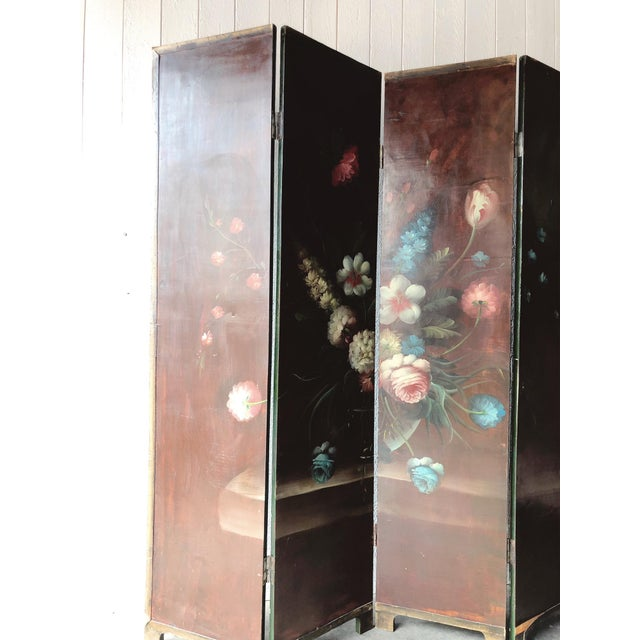 Traditional Antique Handpainted Floral Wood Room Divider For Sale - Image 3 of 9
