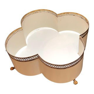 White & Gold Clover Shape Cachepot With Feet For Sale
