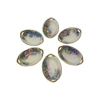 European Hand-Painted Salt Dishes - Set of 6 For Sale