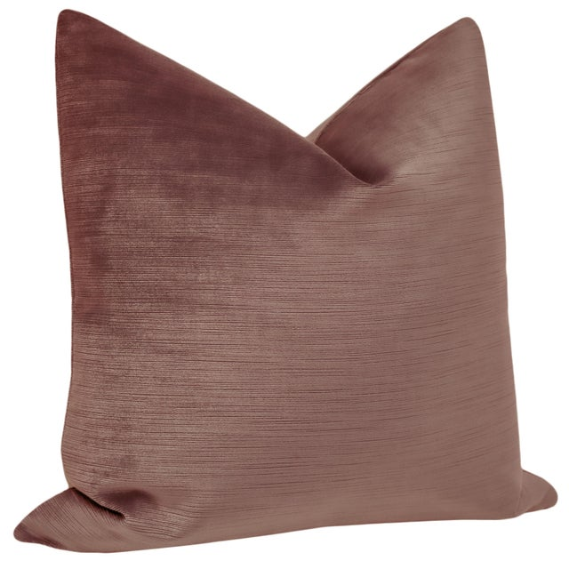 """Contemporary 22"""" Strie Silk Velvet Vintage Rose Pillows - a Pair For Sale - Image 3 of 5"""