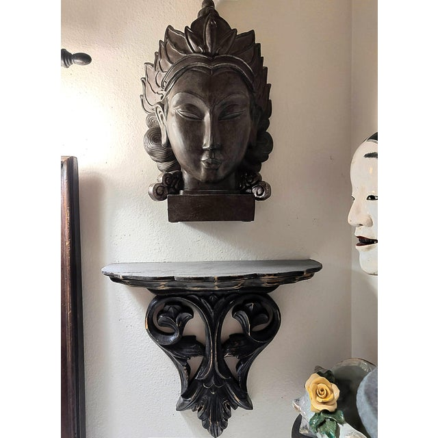 Rustic Carved Ebonized Decorative Wood Wall Shelf and Buddah Head Bust - 2 Piece Set For Sale - Image 3 of 5