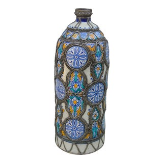 Moroccan Vase W/ Moorish Pattern & Inlay For Sale
