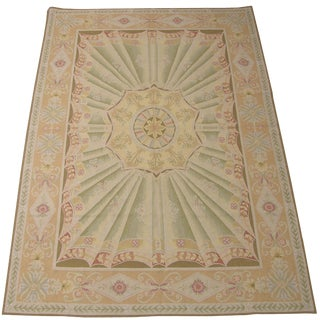 Traditional Aubusson Wool Handmade Rug - 6′ × 9′1″ For Sale