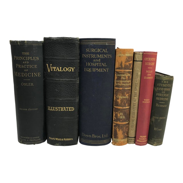Late 19th to Early 20th Century Antique Petite Reference Library of a Surgeon - Set of 7 Books For Sale