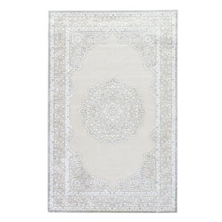 "Contemporary Jaipur Living Malo Medallion Gray & White Area Rug - 7'6"" X 9'6"" For Sale"