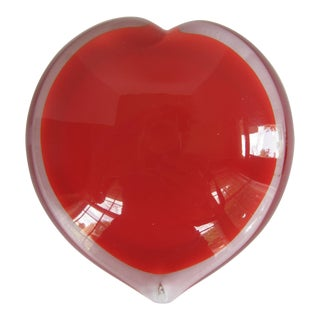 Vintage Blown Glass Heart Paper Weight For Sale