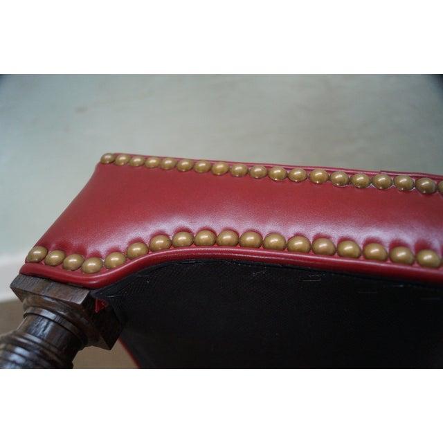 Quality Burgundy Leather English Regency Ottoman - Image 5 of 10