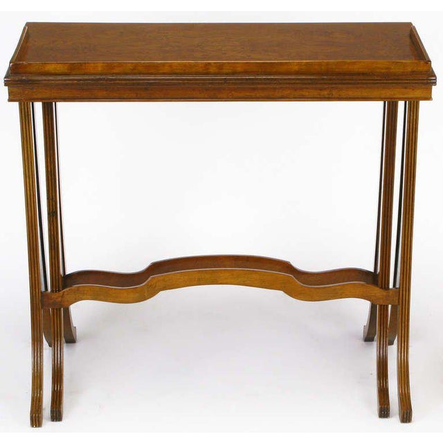 1950s Baker Art Nouveau Style Burled Walnut Nesting Tables For Sale - Image 5 of 10