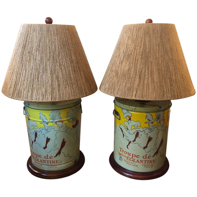 Pair of Custom Tin Canister Lamps a La Toulouse Lautrec For Sale