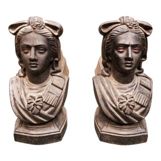 1900s Vintage French Cast Iron Maiden Figural Fire -a Pair For Sale