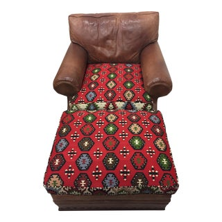 1980s Vintage Ralph Lauren Leather & Kilim Club Chair and Ottoman Set For Sale