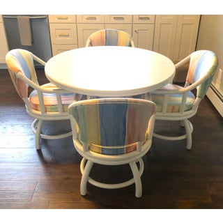 1980's White Lacquered Rattan Dining Table, 4 Swivel Chairs and Leaf by Clark Casual - Set/5 Preview