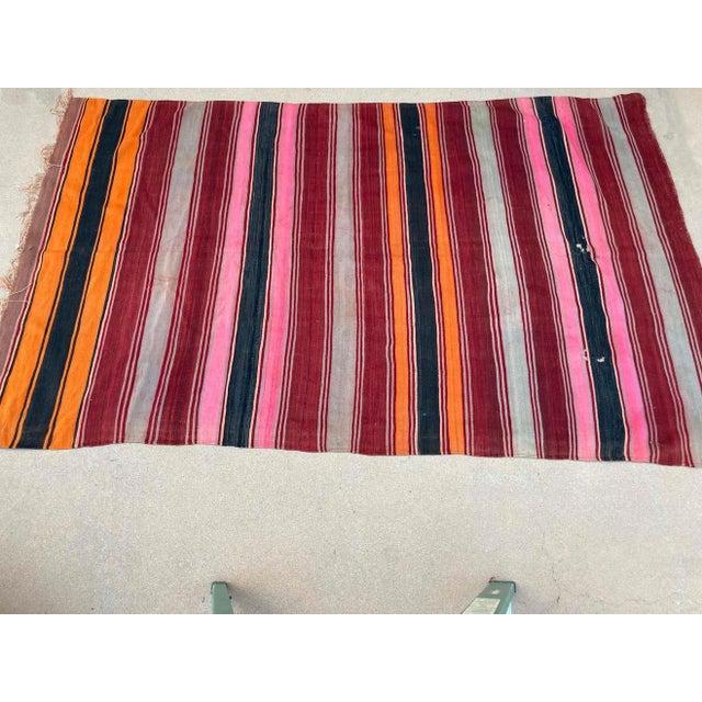 Red Moroccan Vintage Flat-Weave Stripe Kilim Rug For Sale - Image 8 of 13