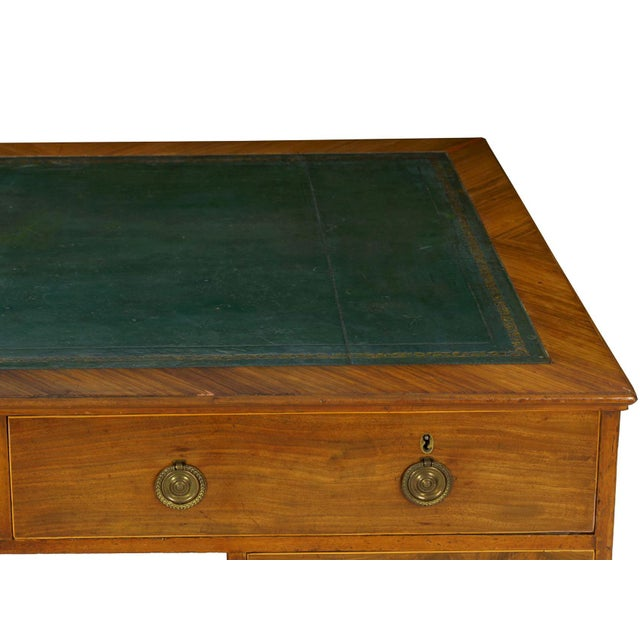 Metal 19th Century English Antique Mahogany and Leather Pedestal Desk For Sale - Image 7 of 13