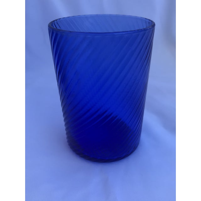 Blue 1980s Vintage Blue Swirl Glasses - Set of 7 For Sale - Image 8 of 9