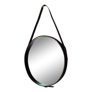 Brown Leather Strap Hanging Captains Mirror For Sale