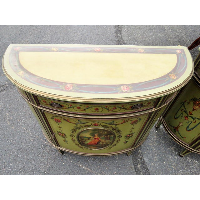 Adams Style Paint Decorated Commodes - A Pair For Sale - Image 4 of 9