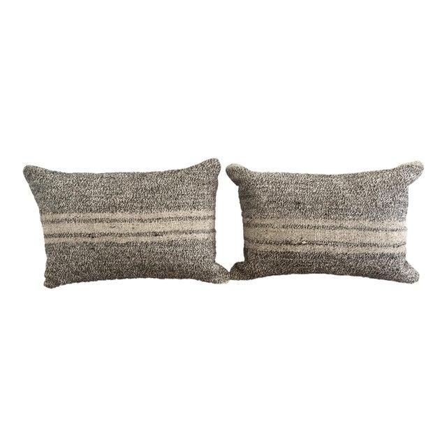 Ivory & Gray Kilim Pillows - A Pair - Image 1 of 5