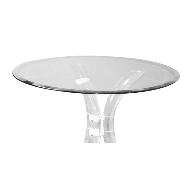 Glass Charles Hollis Jones Style Mid Century Glass Lucite Dining Table by Hill Mfg. For Sale - Image 7 of 10