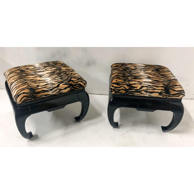 1970s Springer Style Asian Modern Ottomans, Pair For Sale - Image 5 of 7