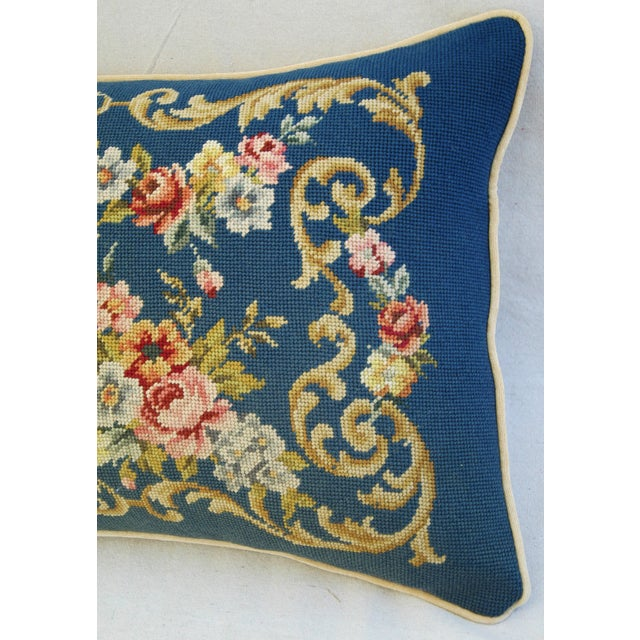 Custom 19th-C. French Needlepoint Floral Pillow - Image 4 of 11