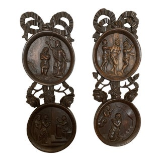 Carved Wooden Wall Plaques - a Pair For Sale