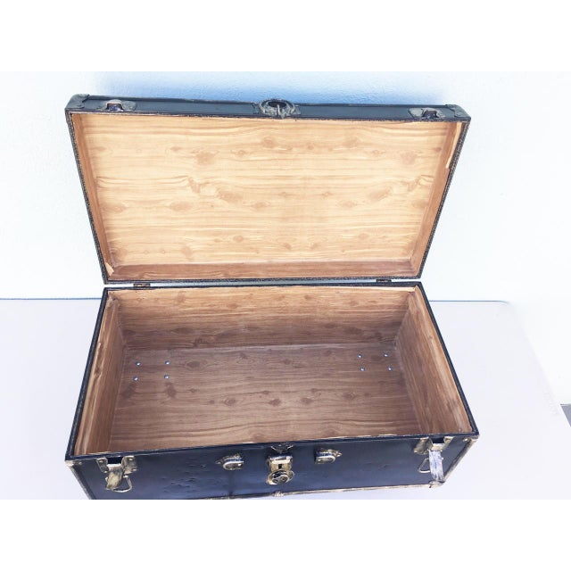 Black Upcycled WWII Trunk on Wheels For Sale - Image 8 of 9