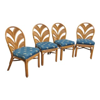 Mid-Century Rattan Dining Chairs - Set of 4 For Sale