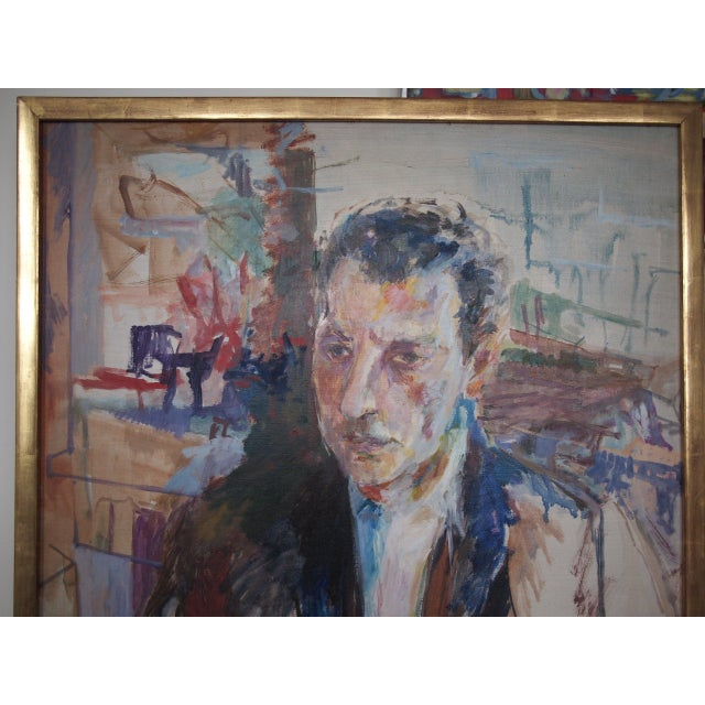 Abstracted, Mid-century modern-era portrait painting by artist HERBERT BEERMAN (1926-2016; American / New York), professor...