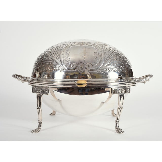 Vintage English Silver Plate / Copper Footed Tableware Server For Sale - Image 10 of 11