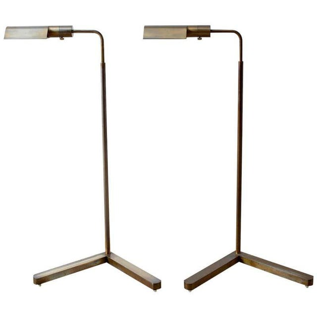 Pair of Casella Brass Adjustable Pharmacy Floor Lamps For Sale - Image 13 of 13